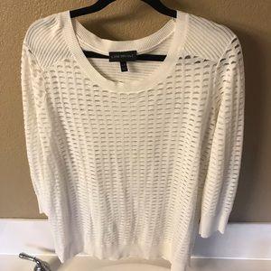 Cream Textured 3/4 Sleeve Sweater